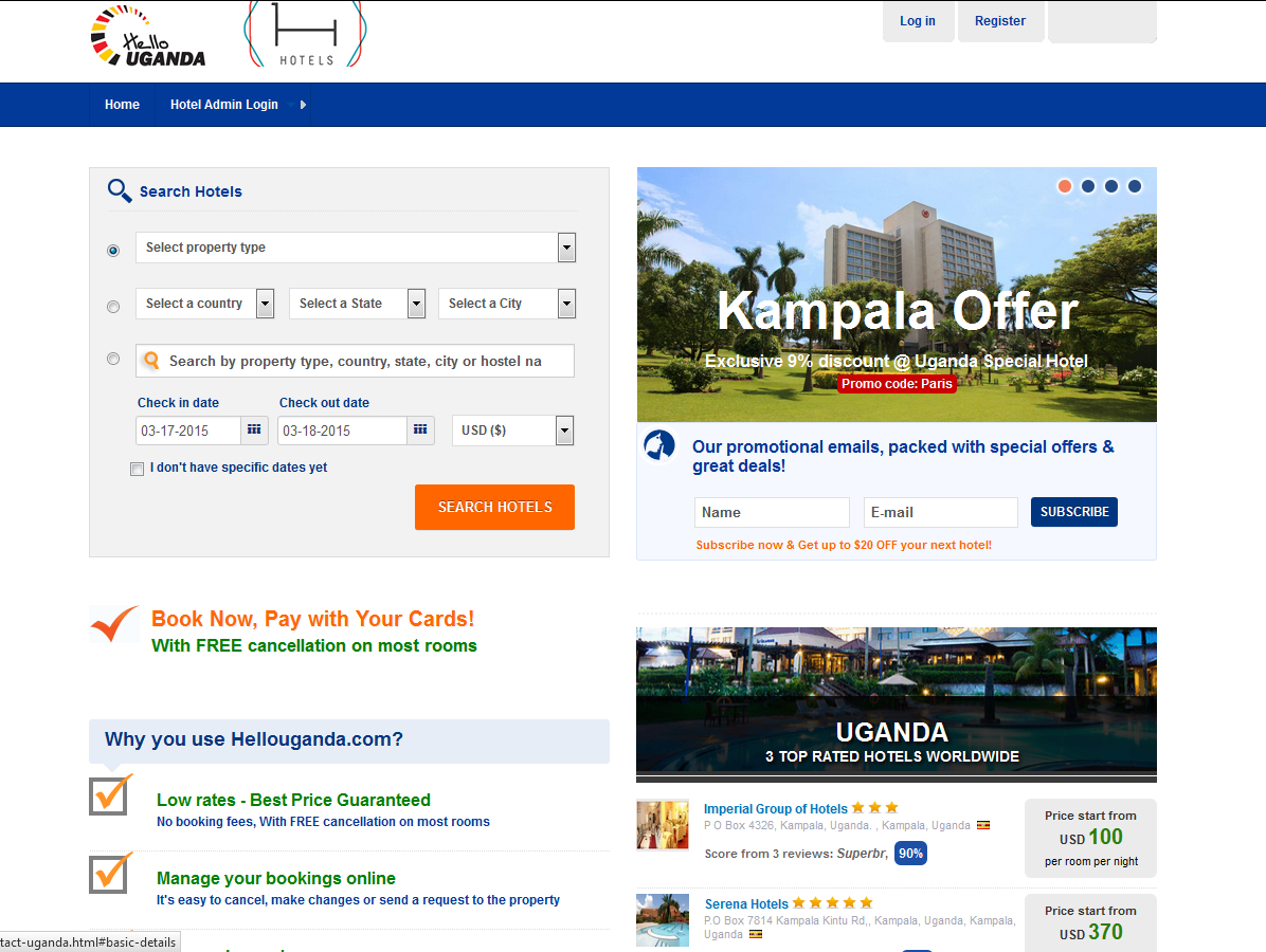 Online hotel booking uganda gateway technologies ltd for The hotel reservation